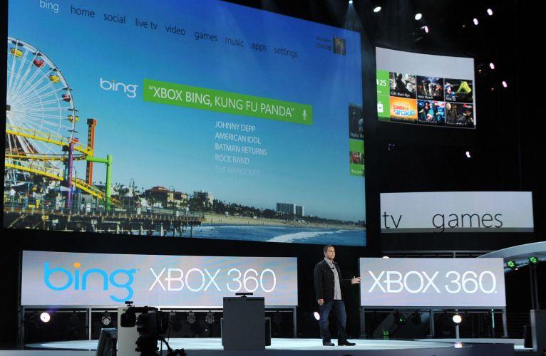 Trecho de conferência pré-E3 da Microsoft, em que foi demonstrada a integração do Xbox 360 com o sistema de busca Bing