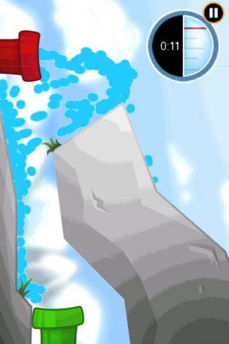 Inclinando o iPhone, faça a água do cano vermelho chegar à tubulação verde em