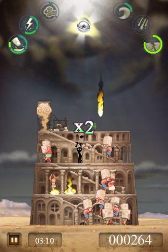 Esse é um jogo que faz o jogador se sentir um deus. Com poderes celestiais, que incluem raios, ventanias, ondas gigantes e até terremotos, impeça os humanos de construir a famosa torre em