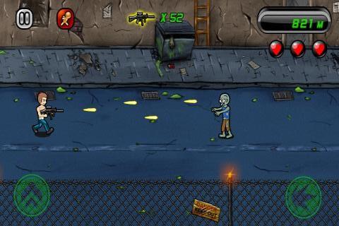 Numa metrópole cheia de mortos-vivos, controle o protagonista e tente eliminar o máximo de zumbis.