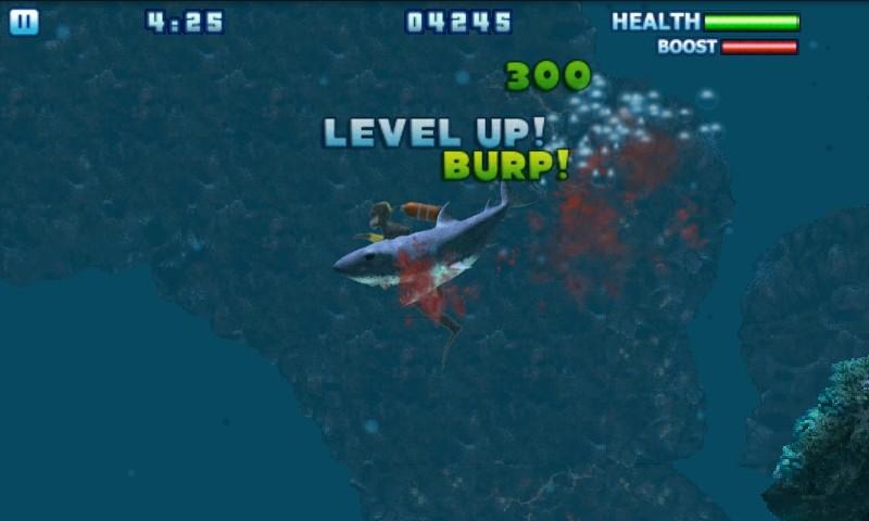 No comando de um temível tubarão, devore peixes, caranguejos e principalmente humanos.