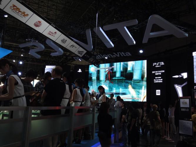 O telão da Sony mostrou alguns dos principais lançamento deste ano para PSP, PlayStation 3 e PS Vita