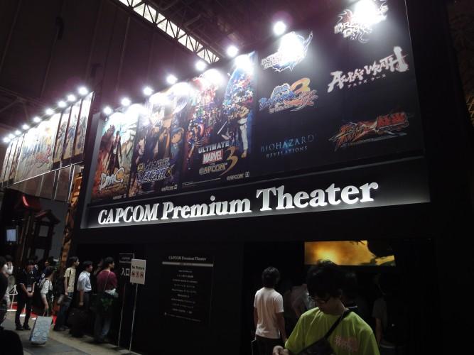 Comum nos grandes estandes, a Capcom tem um telão para mostrar suas principais novidades